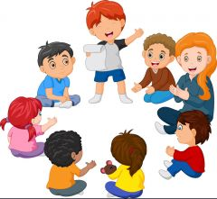 Kids sitting in a circle reading a poem Royalty Free Vector
