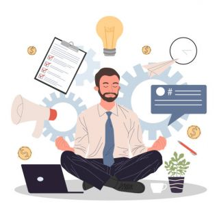 man meditating and relaxing in lotus position - iStock